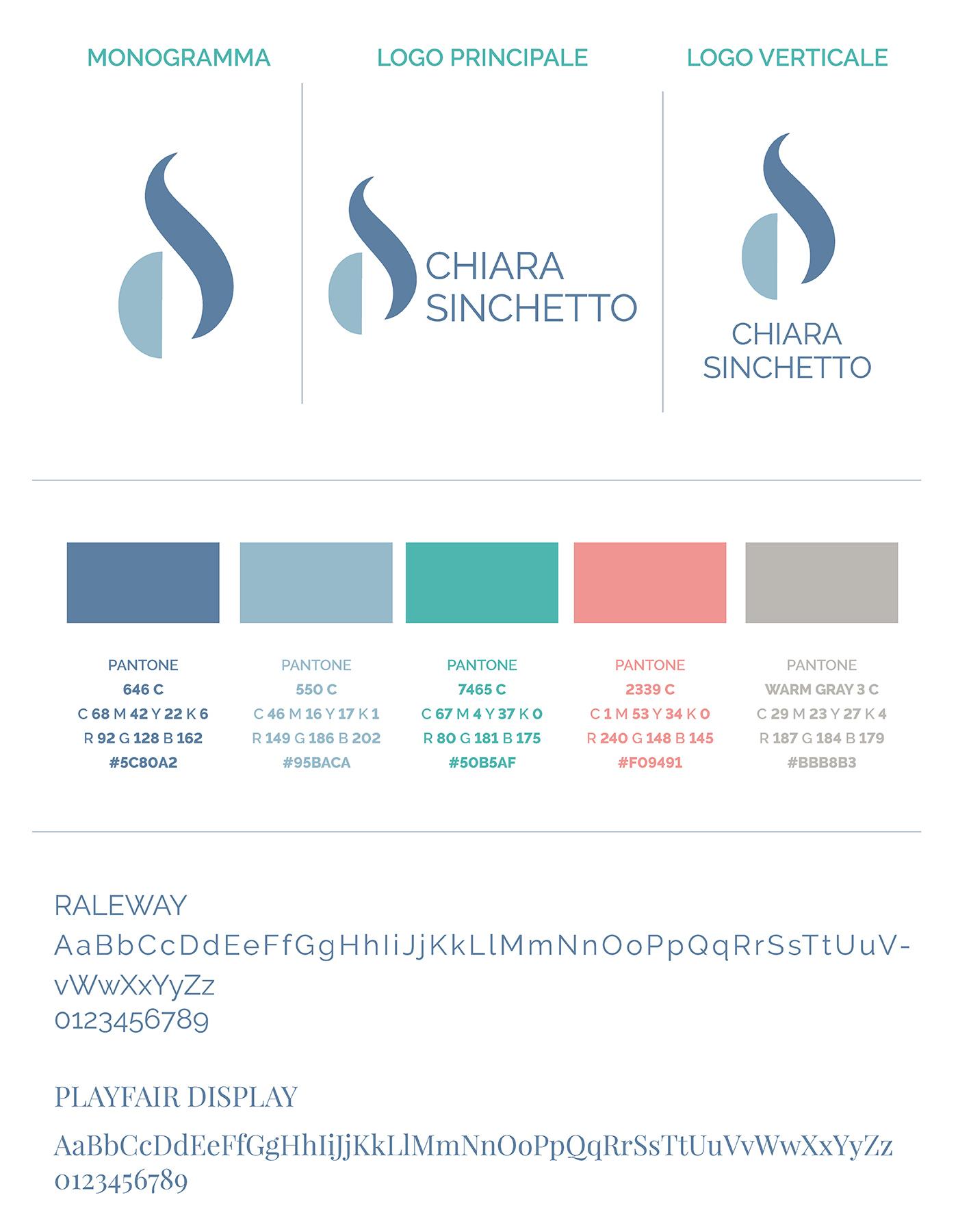 Chiara Sinchetto Identità visiva logo palette colori font di Laura Calascibetta graphic designer